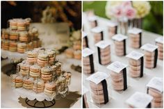 Macaron Wedding Favor Giveaway Souvenir Ideas Photo by Yvonne Wong Photography via Style Me Pretty (left); Photo by Amanda K Photography  via Ruffled (right)
