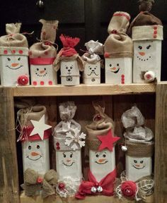 Custom Christmas Wood Snowman Family  Hand painted faces w/ Burlap hats. Button/jingle bell accents. I so could make this