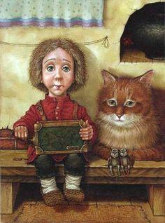 Art of Lowell Herrero - ? Art Fantaisiste, Curious Cat, Russian Art, Children's Book Illustration, Whimsical Art, Pet Portraits, Cat Art, Love Art, Illustrators