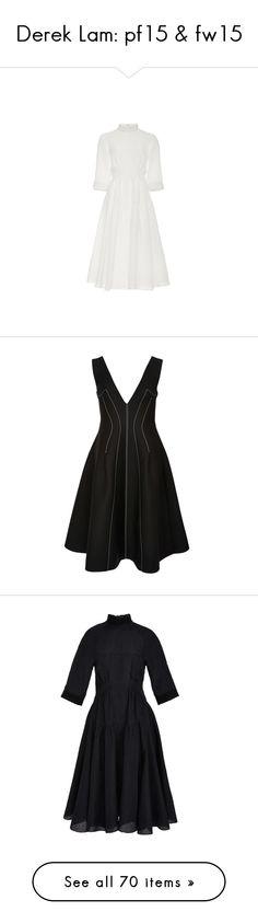 """Derek Lam: pf15 & fw15"" by livnd ❤ liked on Polyvore featuring collection, dereklam, fallwinter2015, prefall2015, dresses, black, black silk dress, black skater skirt, black cocktail dresses and silk cocktail dress"