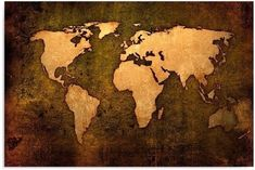 Single Panel Canvas Wall Art Picture Decorative 30 40 CM World Map Brown Beige    eBay