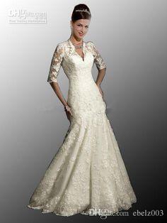 2015 Cheap New Sexy Designered V Neck Long Sleeves Mermaid Lace Stunning Wedding Dresses