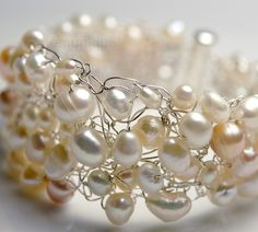 crocheted wire with pearls