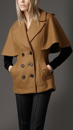 f/w 2012 Cape Coat, fitted at waist, thigh length with notch lapel.