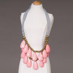 Pink & gray teardrop bib necklace.