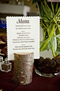placement of a menu card on each of your wedding guest tables is a nice decor touch! It also provides one more way to tie all your wedding paper products together. Wedding Name Tags, Wedding Menu Cards, Wedding Paper, Wedding Favours, Diy Wedding, Rustic Wedding, Wedding Foods, Wedding Vintage, Wedding Ideas