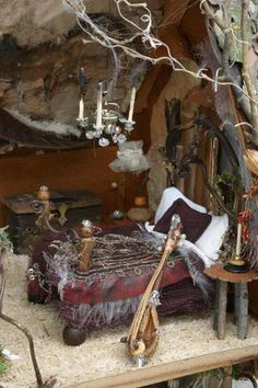 Fae Bedroom. Maybe a little too nice for an outside fairy garden. But it would look nice as a tree house overlooking an indoor garden.Me & my dream home in the woods / Fairy hill