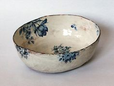 porcelain china rub on decals. on a rustic handmade pottery bowl. Ceramic Bowls, Ceramic Pottery, Ceramic Art, Porcelain Ceramic, Blue Pottery, Pottery Vase, Ceramic Mugs, Painted Pottery, Ceramic Tableware