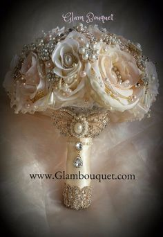 Custom Rose Gold Brooch Bouquet - $520 Full Price FULL PRICE $520, DEPOSIT = $320.00, BALANCE Due ($200) @ Completion This Bouquet is made in colors of Ivory and touches of Blush Pink added. All Rose