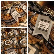 Set of 10 custom masculine grey and black 40th birthday caramel corn party favor on Etsy, $98.00