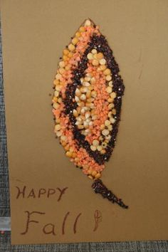 Fall leaf mosaic craft using dried beans