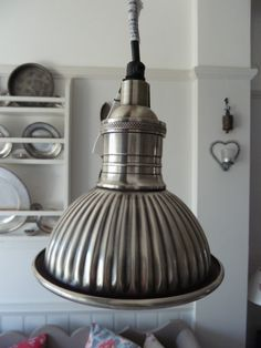 love this metal pendant ceiling light. Quite small, at 13.5cm diameter at widest part... For loft room?  Or in the kitchen in groups of 2 or 3..... over a work station?  or dining table?  They have a very long black flex so they can be hung quite low. They are a good quality heavy metal.