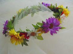 Boho Daisy Silk Wildflower Crown Fairy Tiara Renaissance Fair Crown Flower Girl Crown Bridesmaid Crown by BunniesMadeOfBread on Etsy