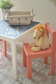 Another IKEA LATT hack - painted chairs coral, top painted with chalkboard paint Ikea Hack: Childrens Table. | Paddington Way.
