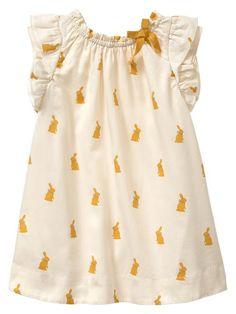sweet little bunny print ruffle dress