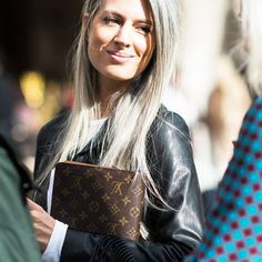 Style Icons - Sarah Harris - British Vogue fashion features director Sarah Harris has reinvented how to rock grey locks with utter sophistication. Whether you have a few grey hairs, one bold stripe or a full head of flowing silver, don't be afraid to wear it with pride—and style. Photo: Adam Katz Sinding