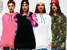 The Sims Resource: Oversized Hoodie Collection by Pinkzombiecupcakes • Sims 4 Downloads