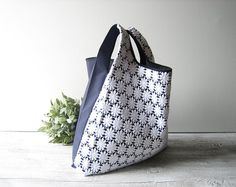 special edition tote bag blue cotton base with white lace insert / elegant shopping bag / wedding bag / bride bag / single piece
