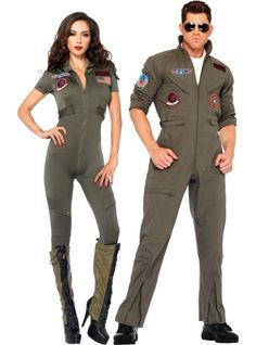 You two are ready for takeoff in our Top Gun Couples Costumes! The coordinating Top Gun Couples Costumes each feature green jumpsuits with military-style insignia. Top Gun Halloween Costume, Horror Costume, 80s Costume, Hallowen Costume, Costume Ideas, Scarecrow Costume, Halloween 2018, Costume Makeup, Halloween Outfits