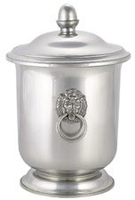 Pewter Lion Handle Ice Bucket W/ Lid 10""