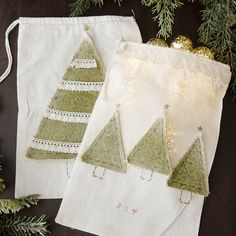 No-Stitch Gift Sack Project by Christen Hammons - Stampington & Company Creative Gift Wrapping, Creative Gifts, Wrapping Ideas, Christmas Gift Wrapping, Christmas Gifts, Christmas Goodies, Christmas Decorations, Button Ornaments, Subscription Gifts