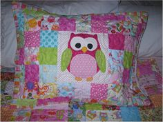 Custom quilted pillow sham to match scrappy owl quilt from this shop, add on to your quilt order
