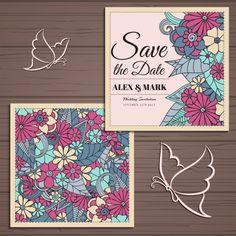 Floral wedding invitation Free Vector