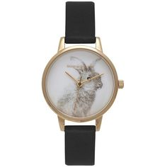 Olivia Burton 'Woodland Bunny' Faux Leather Strap Watch, 30mm ($110) ❤ liked on Polyvore featuring jewelry, watches, charm jewelry, stainless steel charms, olivia burton watches, charm watches and fake watches