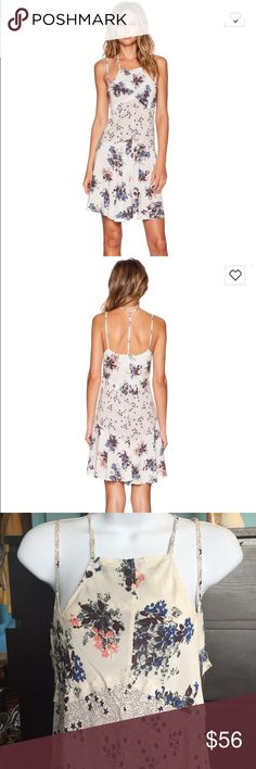 """Free People Crescent Slip Dress in Pearl Combo NWT Free People Intimately.. This dress is brand new, unused 100% rayon material in a small. Shoulder seam to hem measures approx 38"""" in length. Semi-sheer. Machine wash cold, dry flat. Free People Dresses"""