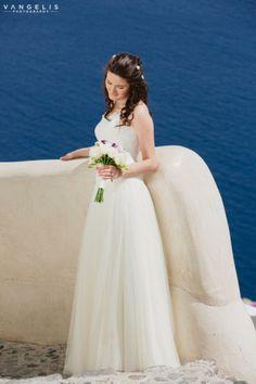 Wedding in Santorini-Beautiful bride  View the full gallery here:http://tietheknotsantorini.com/santorini-wedding-at-cavo-ventus-villa