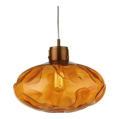 Heathfield+&+Co+Leoni+Amber+Antique+Brass+Pendant+Lamp+-+Hang+light+above+with+the+Leoni+Amber+Antique+Brass+Pendant. From+Heathfield+&+co,+the+grand+glass+pendant+has+been+created+with+an+organic+form+using+heated+flames+to+distort+and+add+a+uniqueness+to+the+oval+shape. When+the+ceiling+light+is+lit,+this+effect+offers+different+and+distorted+shapes+and+patterns+to+the+surroundings. The+structure+of+the+pendant+includes+a+suspension+support+in+an+antique+brass+finish+as+well+as+...