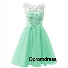 2016 cute green chiffon prom dress with lace top, vintage dress for teens, prom dresses short
