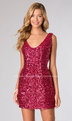Alyce Paris 4389 Raspberry Short Sequin Cocktail Dress