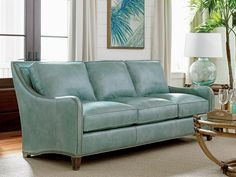 Twin Palms Koko Leather Sofa in Teal | Tommy Bahama Home | Home Gallery Stores