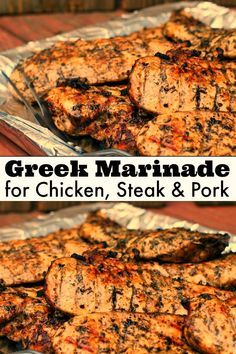 You won't believe the secret to the BEST Greek Marinade! Perfect for chicken, steak and pork. The most juicy chicken ever! No more dry chicken breast! Grilling Recipes, Pork Recipes, Chicken Recipes, Cooking Recipes, Healthy Recipes, Recipe For Pork Steak, Healthy Nutrition, Chicken Steak, Chicken Marinades