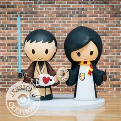 Jedi Groom and Gryffindor Bride Vintage Wedding Cake Topper - Harry Potter, Disney, Geeky, Nerdy, Comic Book, Super hero, Coffee Meets Bagel