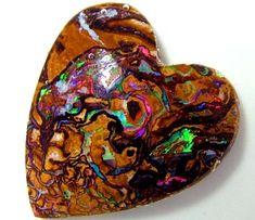 boulder opal love heart shape boulder heart opal, koroit opal heart ,opals