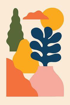 Mid Century Wall Art, Abstract Shapes, Modern Abstract Art, Modern Art Prints, Minimalist Art, Collage Art, Printable Art, Art Inspo, Design Art