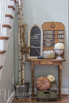 Fall Decorating With a Vintage Church Attendance Sign #givethanks