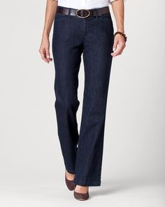 Denim two-button trouser--would like to try a pair of these.