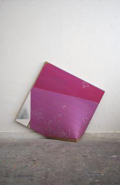 "Masaya Eguchi ""Purple, violet and others"" mineral pigments, pigments mica, metal powder, linen, Fiber reinforced plastics, etc. 753x753x205mm 2015"