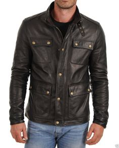MEN'S BIKER LEATHER JACKET, BLACK LEATHER JACKET MENS, MEN LEATHER JACKET - Outerwear