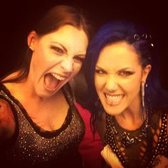 Floor Jansen (Nightwish) and Alissa White-Gluz (Arch Enemy) at Hellfest 2015