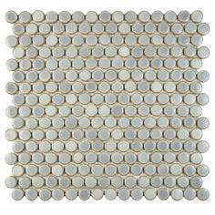 Merola Tile Hudson Penny Round Grey Eye 12 in. x 12-5/8 in. x 5 mm Porcelain Mosaic Tile, Grey Eye/High Sheen