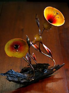 gourd art photos | Flower sculpture made of gourd tops and miniature gourd, watercolor ...