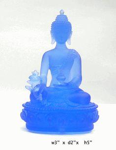 $1280  Blue Crystal Glass Liuli Medicine Buddha Statue - Golden Lotus Antiques