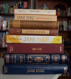 """Even More Jane Eyre // """"A woman named Lora commented on my More Jane Eyre post asking if I had any more copies. So I checked. And I do. And for some reason, I'm documenting my insanity online. I guess that's what blogs usually do. I have eight new Jane Eyre books since that last blog."""" https://justjillsblog.wordpress.com/2012/12/29/even-more-jane-eyre/"""