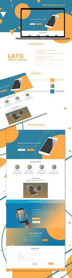 Landing Page Design - Blue and Orange themed , Designed for my portfolio. Orange Web, Blue Orange, App Landing Page, Landing Page Design, Blue Website, Lato Font, Site Inspiration, Behance Net, Banner Ideas