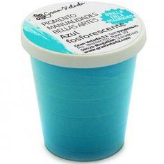 Pigmento fosforescente azul brilla en oscuridad (es azul con la luz apagada o encendida)
