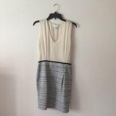 Adam Lippes ivory silk tweed skirt sleveless dress So cute!  Skirt is a mini. Zips up side worn once. Adam Lippes Dresses Mini